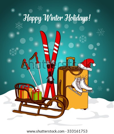Winter Greeting Card with Sport Equipment and Suitcase Wishing Happy Holidays - stock vector