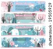 Winter grunge banners. - stock vector