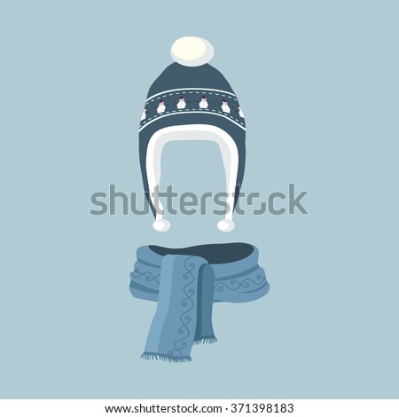 Winter hat icon. Knitted winter cap. Set winter hat isolated. Winter hat and cap. Isolated winter hat. Striped scarf isolated icon. Striped scarf isolated on white. Striped scarf. Scarves icon. - stock vector