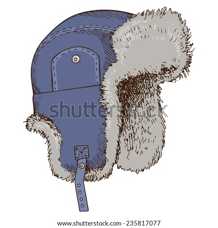 Winter hat with ear-flaps, hand-drawn illustration in sketch style. - stock vector