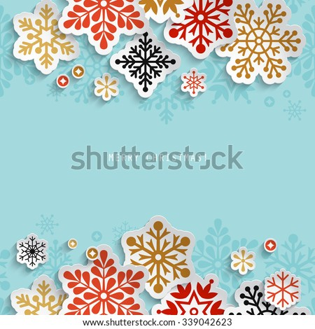 Winter holiday abstract background with paper snowflakes - stock vector