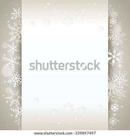 Winter holiday background card with snowflakes - stock vector