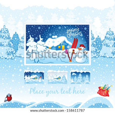 winter holiday background for web template - stock vector