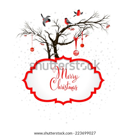 Winter holiday background with bullfinches and holiday decoration. Copy space - stock vector