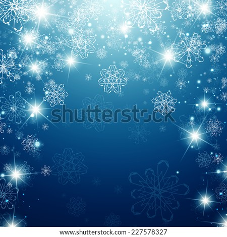 Winter Holiday Background With Snowflakes and Copyspace - stock vector