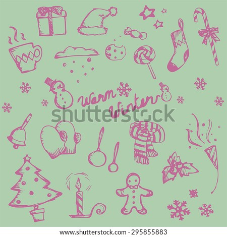 Winter holiday doodle ornament icon and leisure fashion item and food candy collection set, create by vector - stock vector