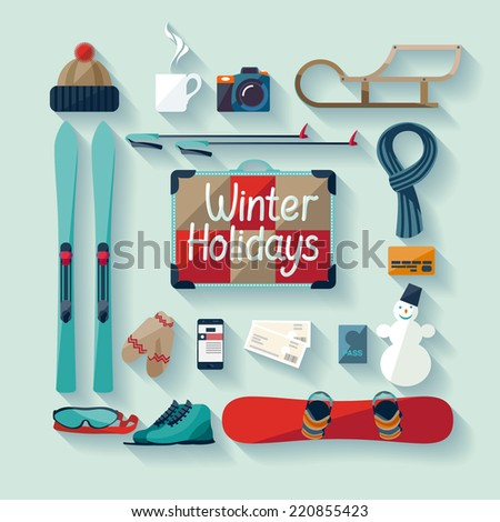 Winter holiday. Flat design - stock vector