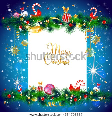 Winter holiday frame. Luxury festive Christmas tree with place for text. Christmas design for card, banner,ticket, leaflet and so on. - stock vector