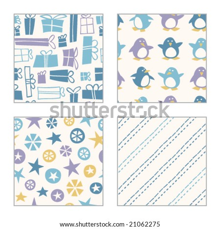 Winter Holiday Patterns - stock vector