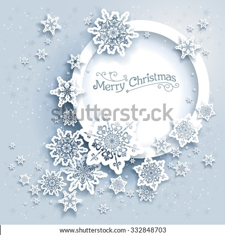Winter holiday round frame. Snowflakes holiday card for web, banner, invitation, leaflet and so on. Christmas background. - stock vector