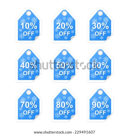 Winter holiday sale tags. Vector illustration - stock vector