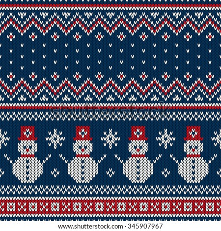 Winter Holiday Seamless Knitting Pattern. Christmas and New Year Vector Seamless Background - stock vector
