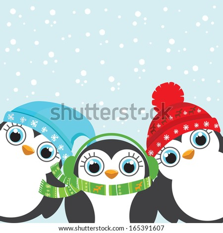Winter holidays Christmas and New Year postcard. Three little cute cartoon penguins wearing warm cap and the scarf. Snow on the background. Vector illustration. - stock vector