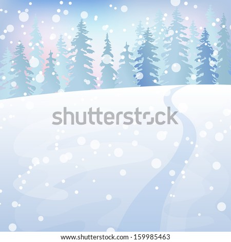 Winter holidays landscape. Christmas vector Illustration with snowy forest. - stock vector