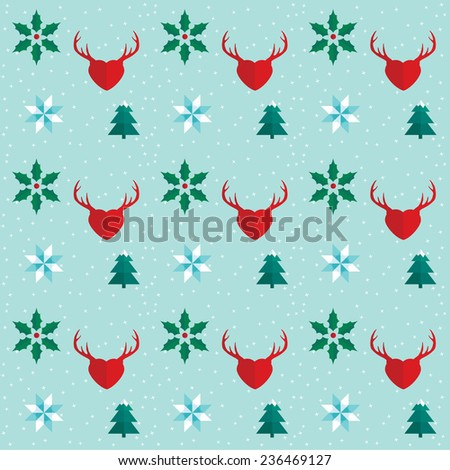 Winter holidays season icons pattern. Winter holidays pattern with illustrations in icon style. Background made in minimal style. Holly, snowflake, fir tree and deer interpretation icons. - stock vector