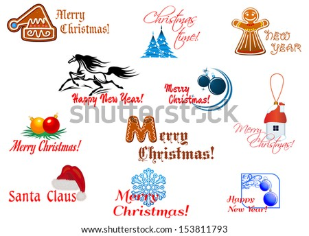Winter holidays symbols for Christmas and New Year design. Jpeg version also available in gallery - stock vector