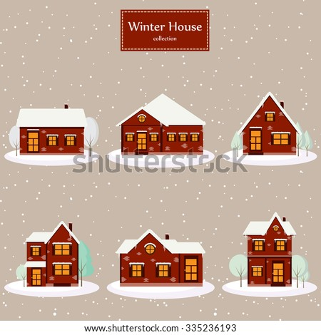 Winter house collection. Vector image of the red brick christmas houses covered with snow. Winter background with cartoon houses. Winter time.  - stock vector