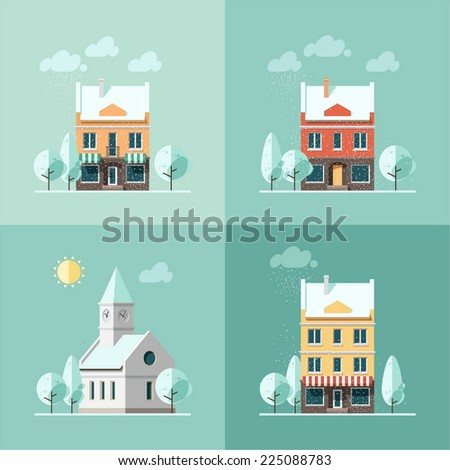 Winter houses - vector illustration in flat design style. - stock vector