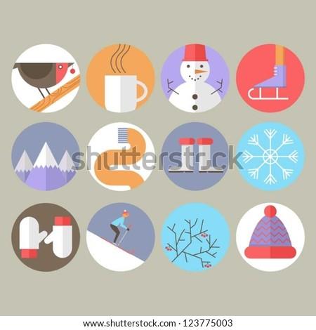 Winter Icons - stock vector