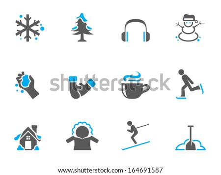 Winter icons in duo tone colors - stock vector
