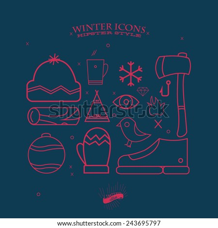 Winter icons in Hipsters style. - stock vector