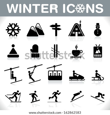 Winter Icons Set - Ski sport - VECTOR - stock vector