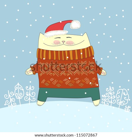 Winter illustration with cat in sweater and hat. Vector - stock vector