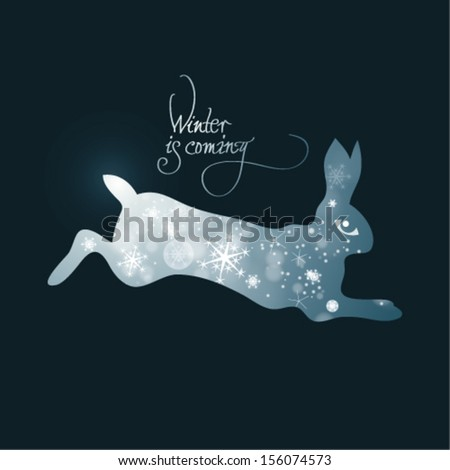 Winter is coming / Fairy illustration of bunny full of snowflakes   - stock vector