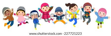 Winter kids jumping - stock vector