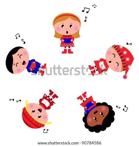 Winter kids singing Silent Night song. Cartoon Illustration. - stock vector