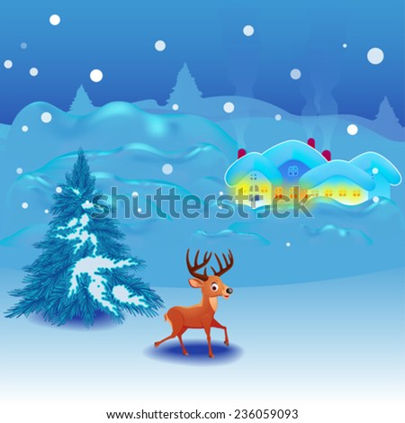 Winter landscape background for your message - stock vector