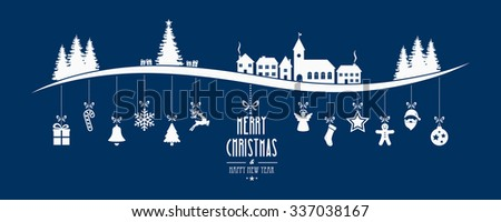 winter landscape christmas ornament hanging blue background - stock vector