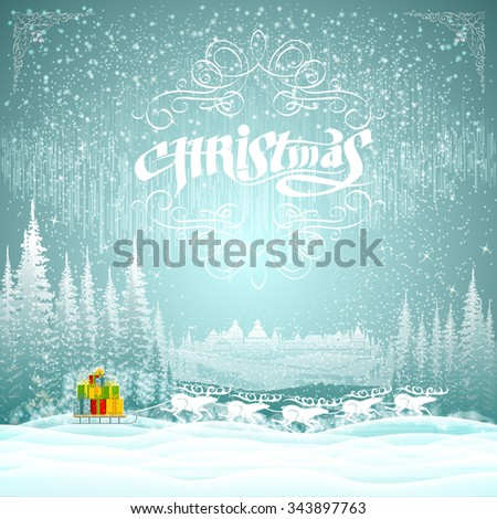 Winter landscape on christmas background. team of deers with sledge of presents - stock vector