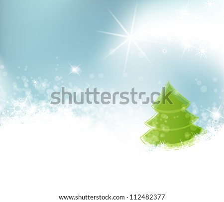 Winter landscape on the background, vector illustration - stock vector