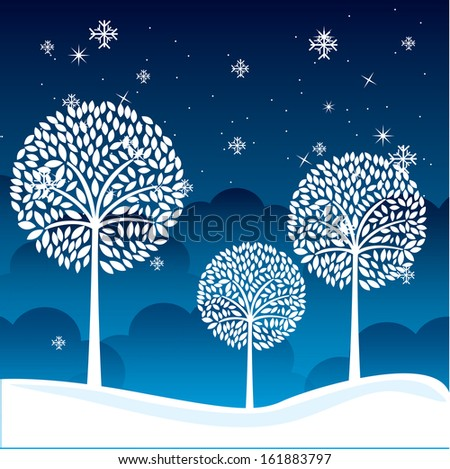 winter landscape over sky night  background. vector illustration - stock vector