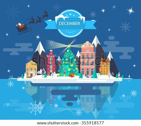 Winter landscape. Small town. Set of urban buildings. City. Calendar. Month of December. Infographics. Flat design. Stock. Image. Illustration. Vector. - stock vector