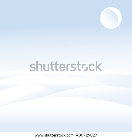 Winter landscape. Snow-covered hills. Month in the sky. Dusk. Winter day. Clear sky. Snow. Blue and white. Vector illustration. - stock vector