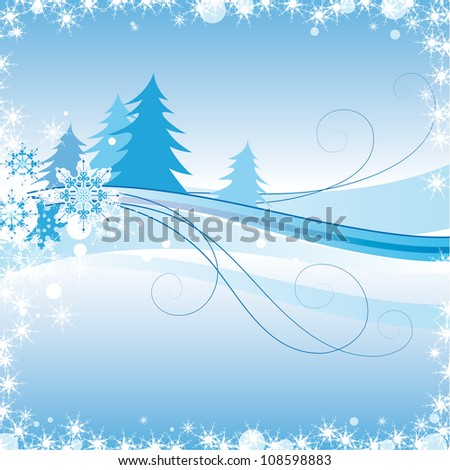 winter landscape, the blue spruce - stock vector