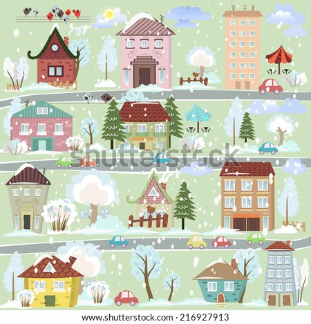 winter landscape with cartoon houses and trees for you design - stock vector