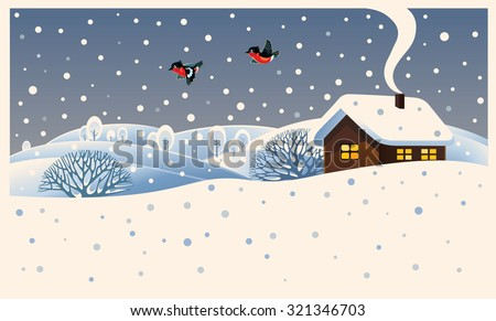 Winter landscape with country house and bullfinches. - stock vector