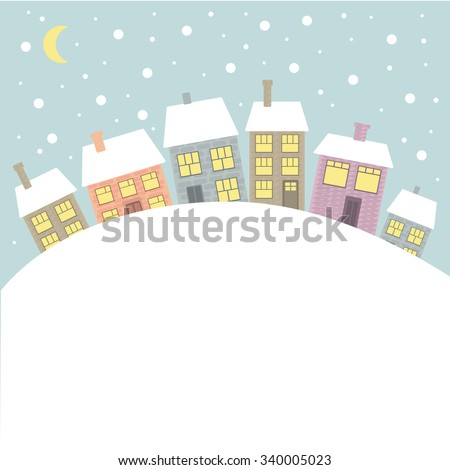 Winter landscape with decorative colorful  houses - stock vector