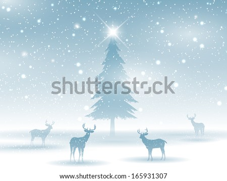 Winter landscape with deer silhouettes - stock vector
