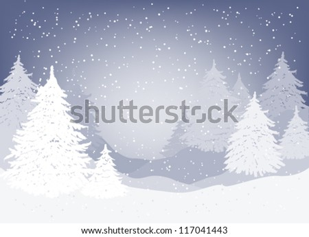 Winter landscape with fir trees and falling snow - stock vector