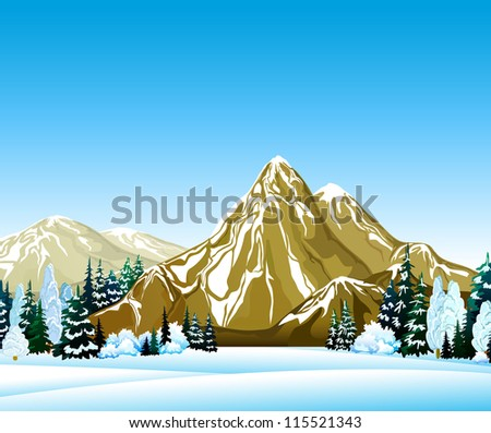 Winter landscape with forest and mountain on a blue sky - stock vector