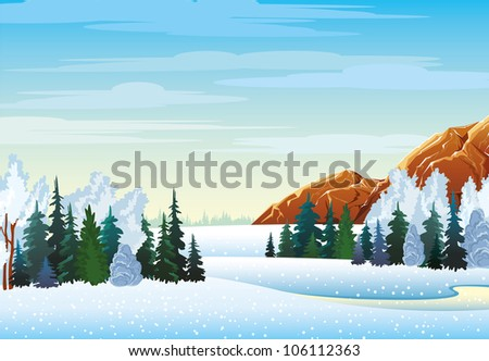 Winter landscape with forest, frozen lake and mountains on a cloudy sky - stock vector