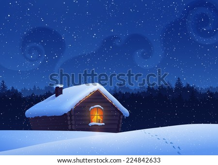 Winter landscape with house. Vector illustration. - stock vector