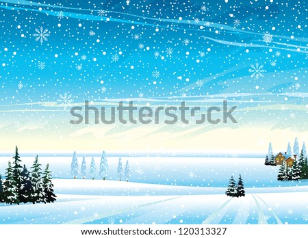 Winter landscape with houses, frozen trees and snowfall - stock vector