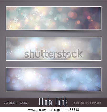 Winter Lights - set of three seasonal bokeh banners with snowflakes (separately grouped) - stock vector