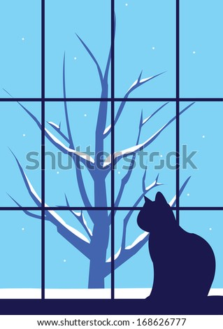Winter lonely cat and a tree outside the window - stock vector