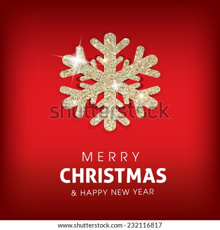 Winter Merry Christmas background with glowing snowflake.Great holiday design for New Year greeting cards, posters and flyers, etc - stock vector